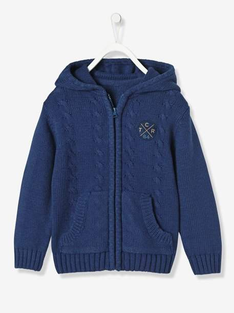 Boys' Lined Cardigan with Hood - blue dark mixed color