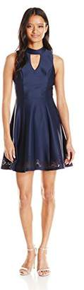 My Michelle Sequin Hearts by Junior's Lasercut Scuba Dress with Collar and Front Keyhole