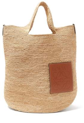 Loewe Leather Applique Raffia Tote - Womens - Cream