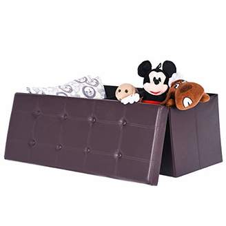 "Amooly 44"" Faux Leather Folding Storage Ottoman Bench"
