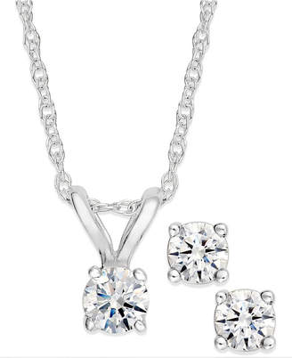 Macy's Diamond Pendant Necklace and Earrings Set in 10k White or Yellow Gold (1/10 ct. t.w.)