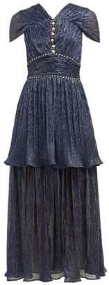 Peter Pilotto Faux Pearl Plisse Lame Dress - Womens - Navy
