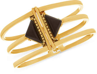 Steve Madden Gold-Tone Stone Triangle Triple-Row Bangle Bracelet