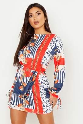 boohoo Nautical Chain Print Slash Neck Shift Dress