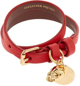 Alexander McQueen Double Wrap Leather Skull Bracelet