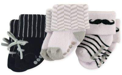 Size 0-3M 3-Pack Mustache Terry Socks