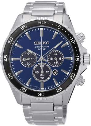 Seiko Men's Stainless Steel Blue Dial Solar Chronograph Watch
