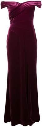 Aidan Mattox side slit textured evening dress