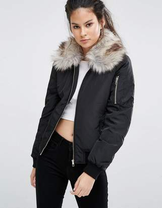Only Bomber Jacket with Detachable Faux Fur Collar