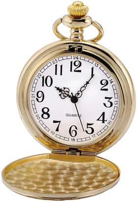 Hunter AMPM24 Men's Vintage Royal Golden Pattern Case Full Analog Arabic Numerals Dial Quartz Pendant Pocket Watch + Gift Box WPK206