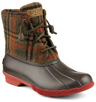 Sperry Saltwater Woolen Plaid Duck Boots $120 thestylecure.com