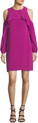 Neiman Marcus Kobi Halperin Raina Cold-Shoulder Silk Popover Dress