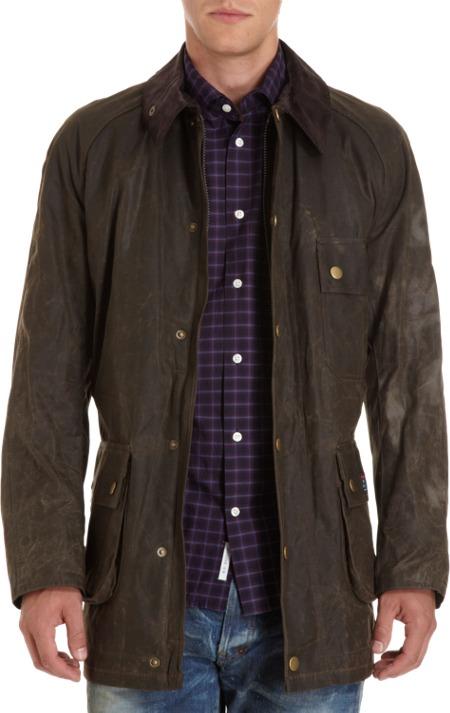 Jack Spade Barbour + Waxed Cotton Zip Front Jacket