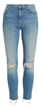 Mother Looker High-Rise Frayed Ankle Skinny Jeans
