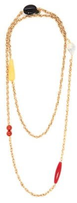 Carolina Herrera Beaded Double Layer Chain Necklace - Womens - Gold