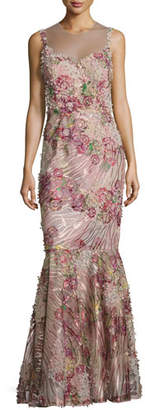 Rickie Freeman for Teri Jon Sleeveless Floral Illusion Mermaid Gown, Red/Pink $960 thestylecure.com
