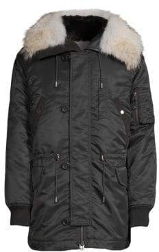 Yves Salomon Rabbit& Coyote Fur-Trimmed Hooded Parka