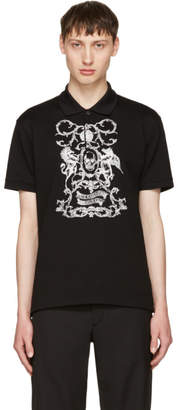 Alexander McQueen Black Embroidered Classic Pique Polo