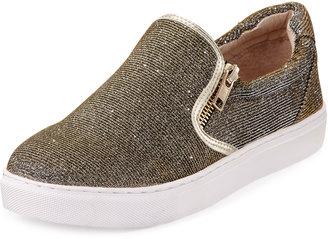 J Slides Zipster Metallic Slip-On Sneaker, Gold $109 thestylecure.com