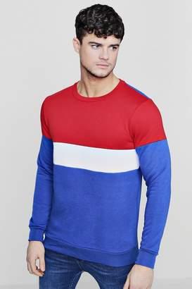 boohoo Colour Block Panelled Crew Neck Sweater