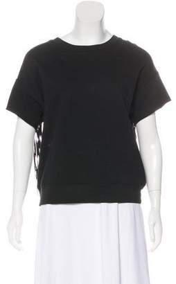 BLK DNM Short Sleeve Fringe Sweatshirt