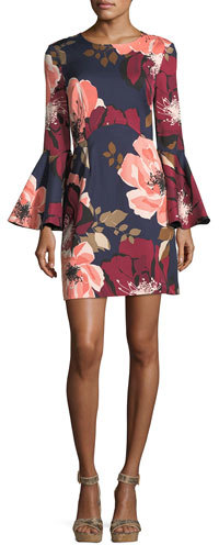 Trina Turk Floral-Print Bell-Sleeve Faille Day Dress