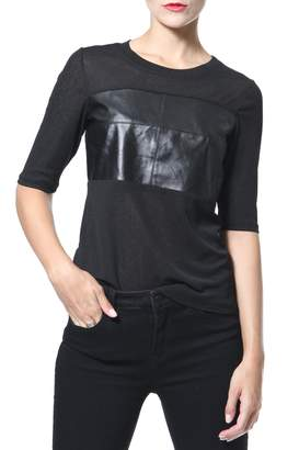 Madonna & Co Leather & Knit Tee