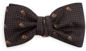 Alexander Mcqueen - Skull Pin Dot Jacquard Bow Tie - Mens - Black Multi