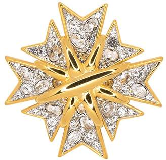 Kenneth Jay Lane Polished Gold And Crystal Maltese Cross Pin