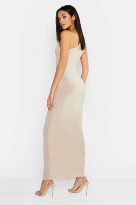boohoo Tall Ruched One Shoulder Maxi Dress