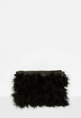 Missguided Black Feather Clutch Bag, Black