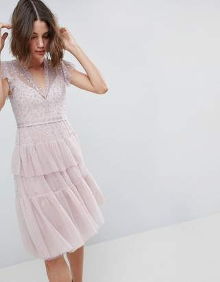 Needle & Thread Layered Midi Dress With Lace Detail