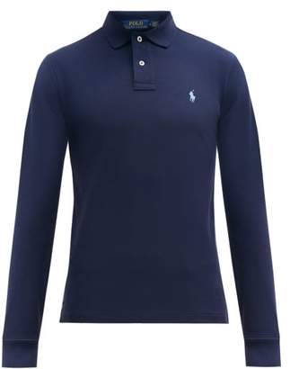 Polo Ralph Lauren Slim Fit Long Sleeved Cotton Polo Shirt - Mens - Navy