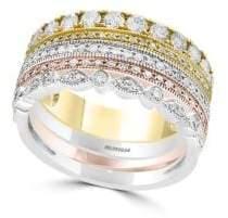 Effy 14K Tri-Tone Gold & Diamond Stacked Ring