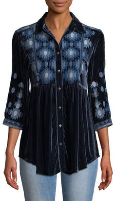Johnny Was Nomi Smock Velvet Shirt, Plus Size
