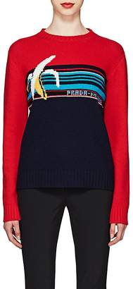 Prada Women's Banana-Knit Striped Virgin Wool Sweater