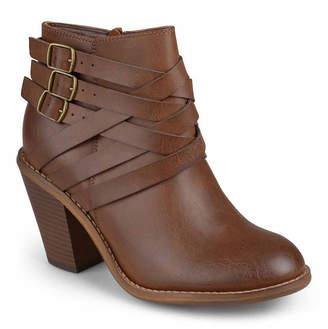 Journee Collection Womens Strap Booties Stacked Heel Zip