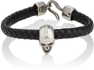 Alexander McQueen Men's Braided Leather Skull Bracelet