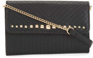 Pyramid Stud Crossbody Convertible Clutch