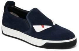 Fendi Monster Suede Slip-On Sneakers