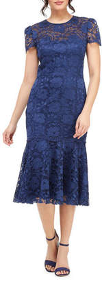 Gal Meets Glam Short-Sleeve Floral Lace Midi Sheath Dress