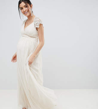04bf95b0020 Little Mistress Maternity Maxi Dress With Lace Back