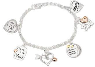 JCPenney FINE JEWELRY Tri-Tone Sterling Silver Love Heart Charm Bracelet