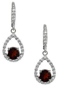 Lord & Taylor Sterling Silver and Garnet Pave Drop Earrings