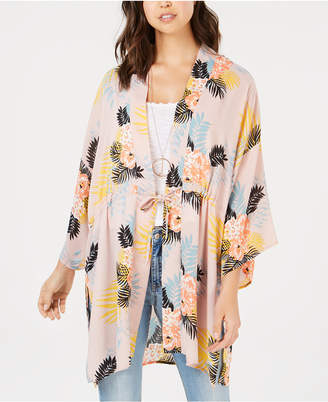 Say What Juniors' Tie-Front Bouquet-Print Kimono