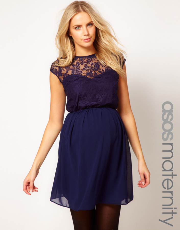 Asos Skater Dress In Lace And Chiffon