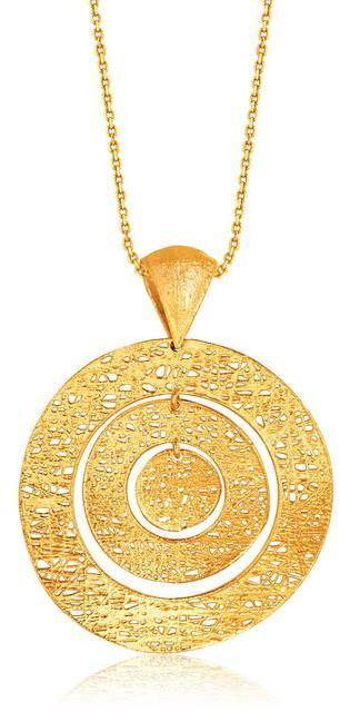 Ice Italian Design 14K Yellow Gold Woven Concentric Circle Pendant Necklace