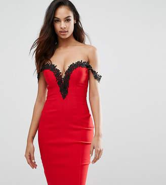 Rare London Sweetheart Midi Dress With Lace Trim