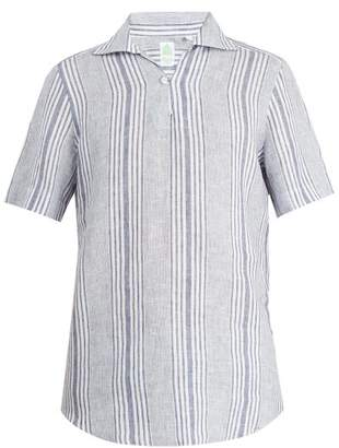 Finamore 1925 - Palma Striped Spread Collar Linen Shirt - Mens - Blue White