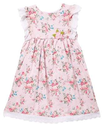 Pippa Pastourelle by and Julie Flutter Sleeve With Eyelet Trim Floral Dress (Toddler & Little Girls)
